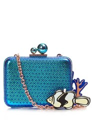 Sophia Webster Vivi Sea Charms Box Clutch Blue Multi