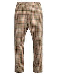 Barena Checked Wide Leg Cotton Twill Trousers Multi