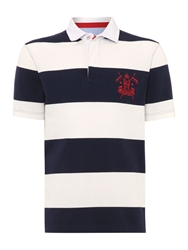 Howick California Block Stripe Short Sleeve Polo Navy