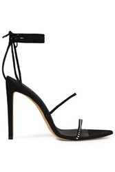 Iro Woman Anaco Lace Up Crystal Embellished Suede Sandals Black