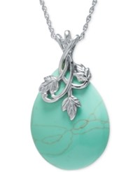 Macy's Manufactured Turquoise Teardrop Pendant Necklace In Sterling Silver