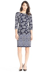 Maggy London Feather Print Ponte Sheath Dress Blue Violet