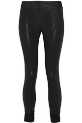 Rag And Bone Danny Coated Stretch Cotton And Modal Blend Leggings Black