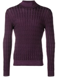 Barba Roll Neck Jumper Pink And Purple
