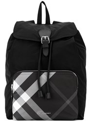 Burberry Checked Pocket Rucksack Men Calf Leather Polyamide Polyester One Size Black