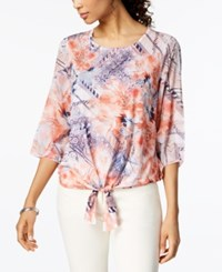 Jm Collection Studded Tie Hem Top Created For Macy's Floral Print