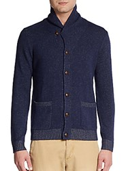 Saks Fifth Avenue Black Shawl Collar Cashmere Cardigan Navy