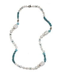 Stephen Dweck Multi Station Necklace In Turquoise And Aqua Chalcedony