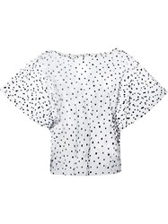 Julien David Sheer Polka Dot Blouse Black