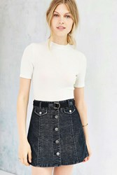 Bdg Corduroy Button Front Mini Skirt Black