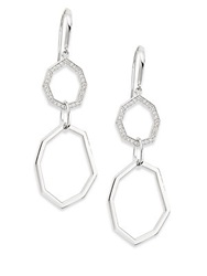 Ron Hami Geo White Topaz And Sterling Silver Double Drop Earrings