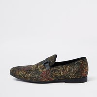 River Island Gold Tone Jacquard Snaffle Loafers