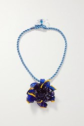 Maryam Nassir Zadeh Flower Glass And Cord Necklace Royal Blue