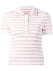 Natasha Zinko Embellished Collar Polo Shirt Pink Purple