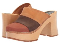 Swedish Hasbeens Color Combo Slip In Brown Nubuck Clog Shoes