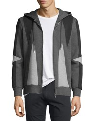 Neil Barrett Paneled Zip Front Hoodie Black Gray