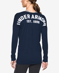 Under Armour Favorite Long Sleeve Top Midnight Navy White