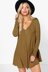 Boohoo Swing Style Long Sleeve Playsuit Olive