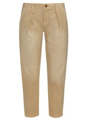 Current Elliott The Tapered Mid Rise Cropped Trousers Beige