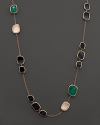 Roberto Coin 18K Rose Gold Diamond Black Jade And Green Agate Necklace Rose Gold Black Jade