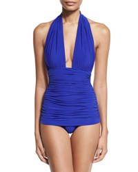 Norma Kamali Bill Ruched Halter Maillot Swimsuit Cobalt