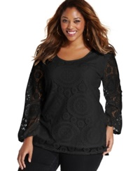 Ing Plus Size Long Sleeve Lace Top Black