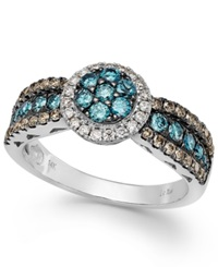Le Vian Chocolate Blue And White Diamond Ring In 14K White Gold 7 8 Ct. T.W.