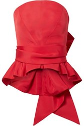 Brandon Maxwell Bow Detailed Silk Twill Bustier Top Red