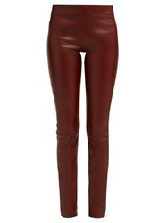 The Row Moto Mid Rise Leather Trousers Burgundy