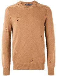 Alexander Mcqueen Distressed Jumper Men Cashmere L Nude Neutrals