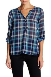 Angie Roll Up Sleeve Blouse Blue