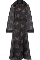Emilia Wickstead Woman Trisha Belted Floral Print Silk Organza Coat Black