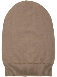 Rick Owens Ribbed Beanie Brown