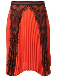 Ainea Lace Panel Pleated Skirt Red