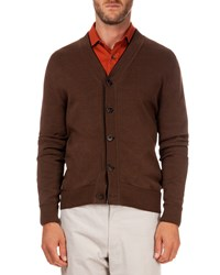 Berluti Cardigan With Leather Placket Brown