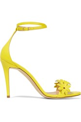 J.Crew Floral Appliqued Leather Sandals Yellow