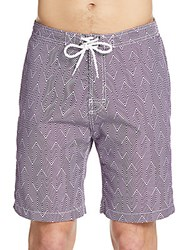 Saks Fifth Avenue Geometric Striped Swim Trunks Purple