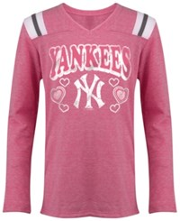 5Th And Ocean Girls' Long Sleeve New York Yankees Heart T Shirt