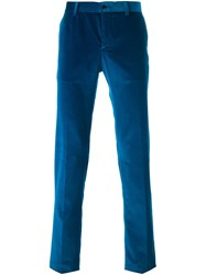 Etro Velvet Tailored Trousers Blue