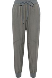Clu Silk And Cotton Blend Track Pants Grey Green