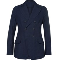 Giorgio Armani Blue Slim Fit Double Breasted Cotton And Linen Blend Blazer Indigo