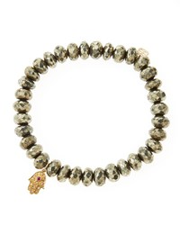 Sydney Evan Champagne Pyrite Rondelle Beaded Bracelet With 14K Gold Hamsa Charm Made To Order