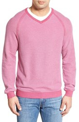 Men's Tommy Bahama 'Make Mine A Double' Reversible Pima Cotton V Neck Sweater Deep Berry