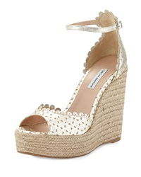 Tabitha Simmons Harp Scalloped Leather Wedge Champagne