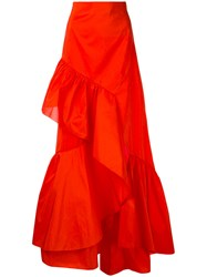 Peter Pilotto Frill Maxi Skirt Women Silk Polyester 10 Red