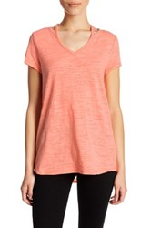 Democracy Cutout Neck V Neck Tee Pink