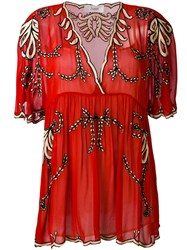 Jucca Floral Embroidery Sheer Blouse Women Cotton Viscose 40 Red