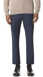 Marni Light Washed Cotton Twill Cropped Pants Blue Navy