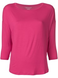 Majestic Filatures Cropped Sleeves Sweater Pink And Purple
