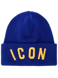 Dsquared2 Icon Beanie Wool Blue